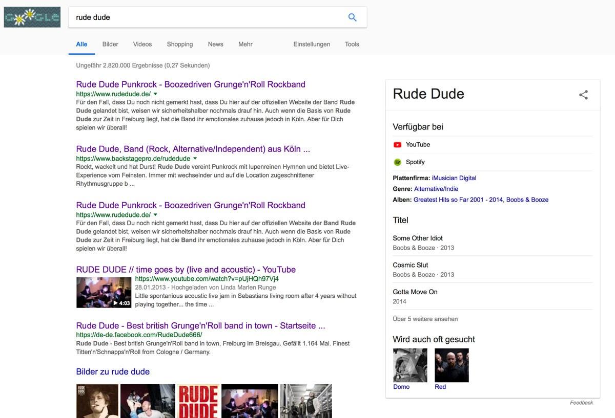 Rude Dude Artist Eintrag bei Google.de - Fotomanipulation by Rude Dude Media Center